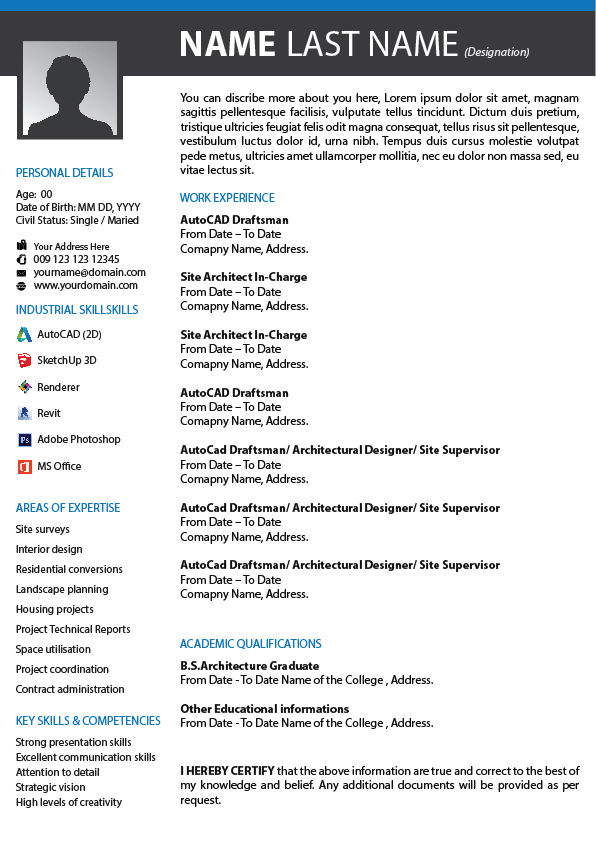 Free Quality Resume - for Architects & Cad Designers